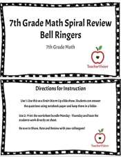 20 bellringer activities for 7th grade math, or differentiation