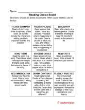 a reading practice exercise for fiction, non-fiction, and poetry for grades 3-5