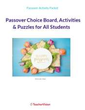 Passover Choice Board and Activities Packet