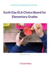 Earth Day ELA Choice Board for Elementary Grades